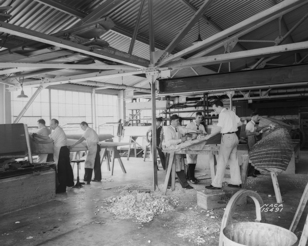 Langley woodworkers shape the 30 x 60 Full Scale Tunnel's enormous twin fan blades 1938