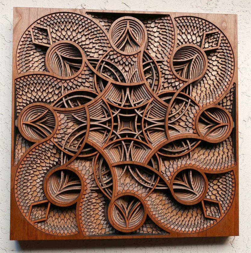 Super Du relief dans des sculptures en strates de bois découpé au laser ZD85