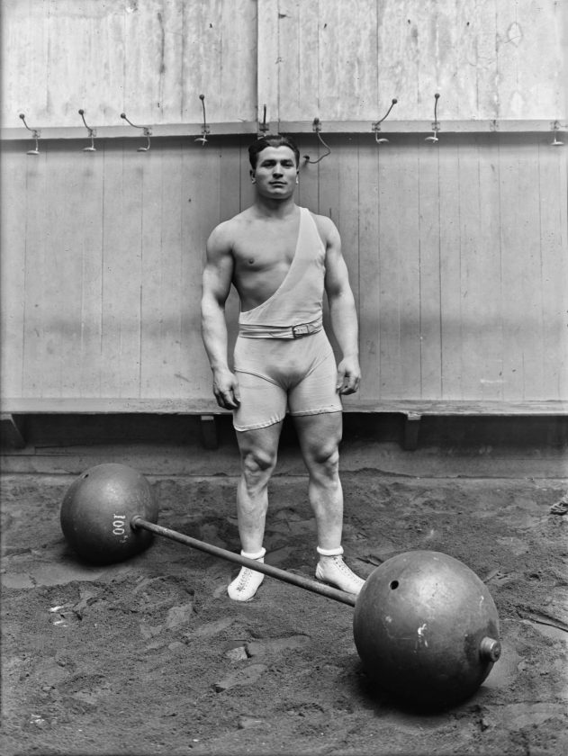 French weightlifter and 1920 Olympic champion Ernest Cadine, 1923