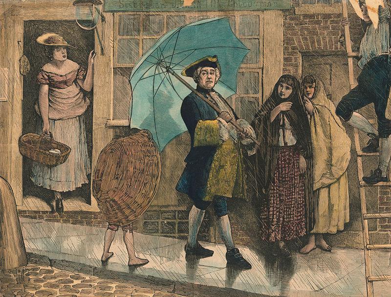 Jonas Hanway se rit de l'averse grâce à son parapluie (Photo: Bettmann/Getty Images)